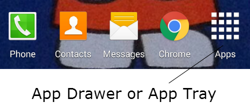 A typical app drawer on an android device